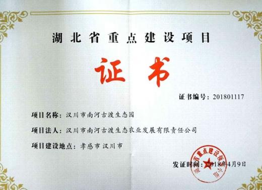 省重点项目证书
